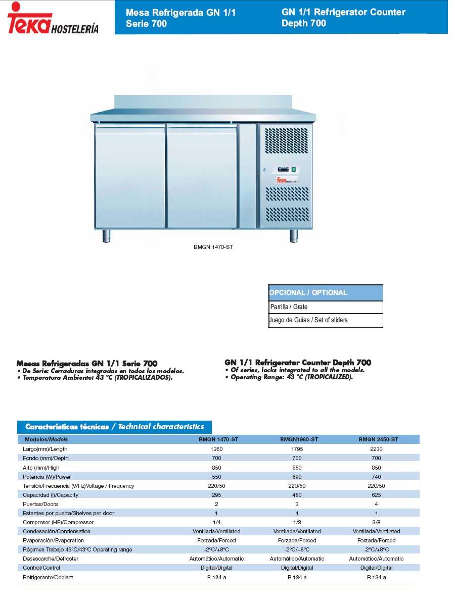 Mesas refrigeradas inox puestas cristal teka gn 1 1 serie 700 for Equipamiento hosteleria