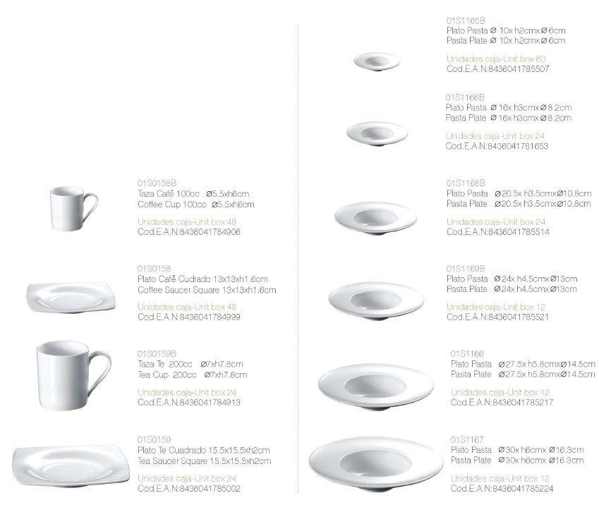 Vajilla hosteleria platos blancos sof a for Tipos de platos